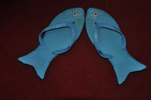 sandals, blue, fish, shape, plastic, material