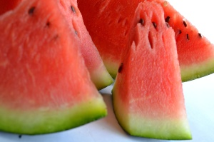 Sandía, fruta, macro, comida, rojo, dulce