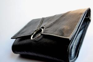 Cuero, bolso, moda, negro, monedero