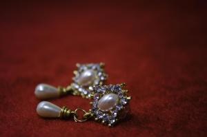 Boucles d'oreilles, or, perle, diamant, luxe, cher, bijoux