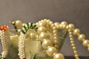 Tesoro, ciotola, perla, gioielli, lusso, collana
