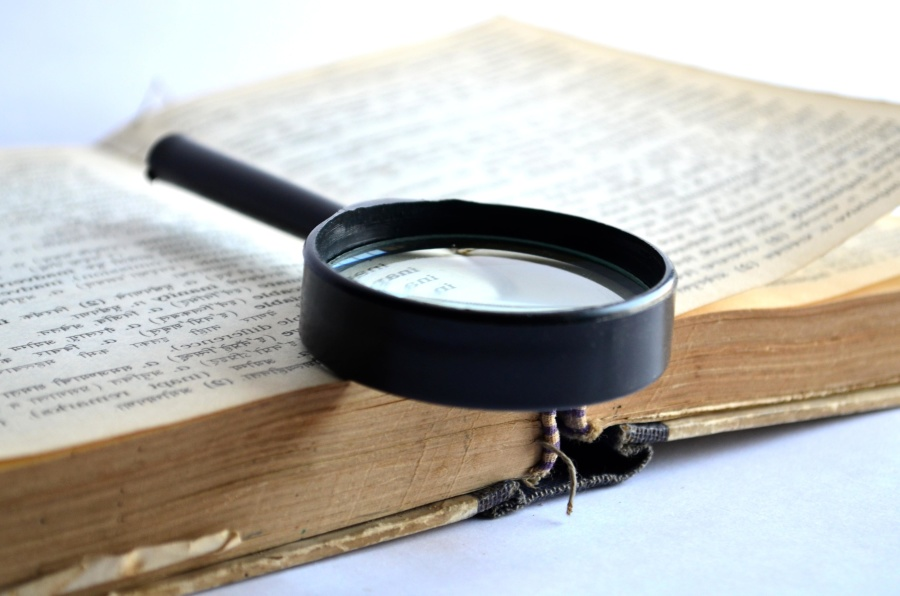 book, magnifying glass, dictionary, text