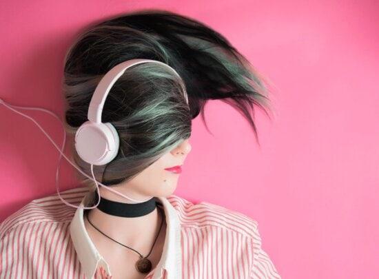 woman, headphones, pink, portrait, music, hair