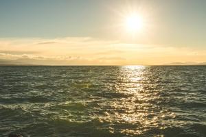 Puesta del sol, nube, cielo, anochecer, sol, sol, océano, paisaje, horizonte