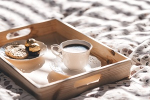 coffee cup, cookie, tray, breakfast, decoration