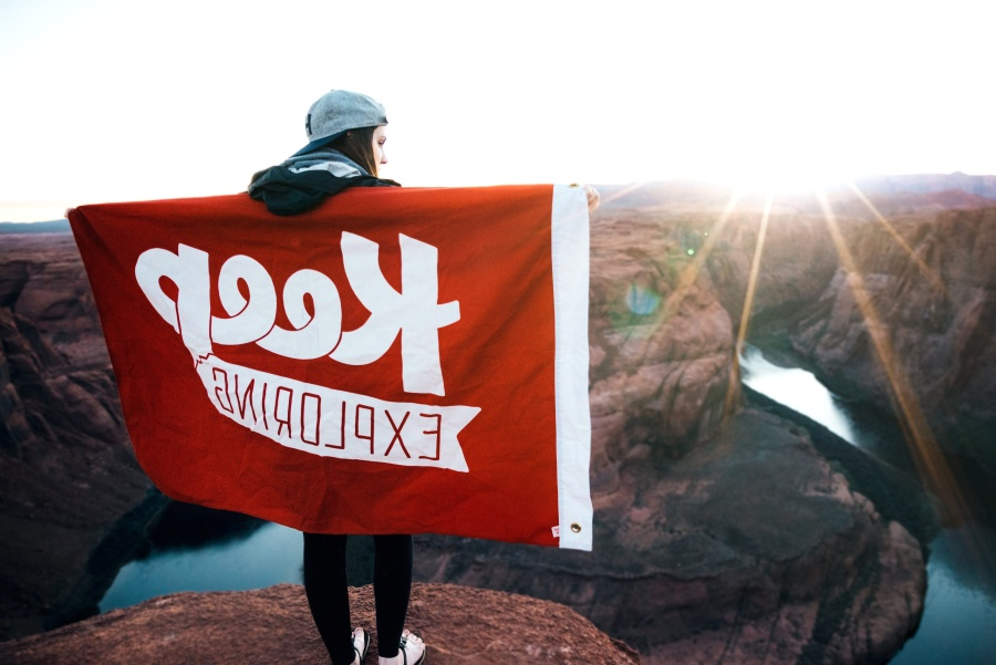 person, mountain, explorer, flag, red