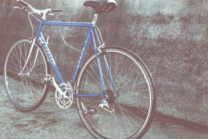 klassiska, blå, cykel, antika