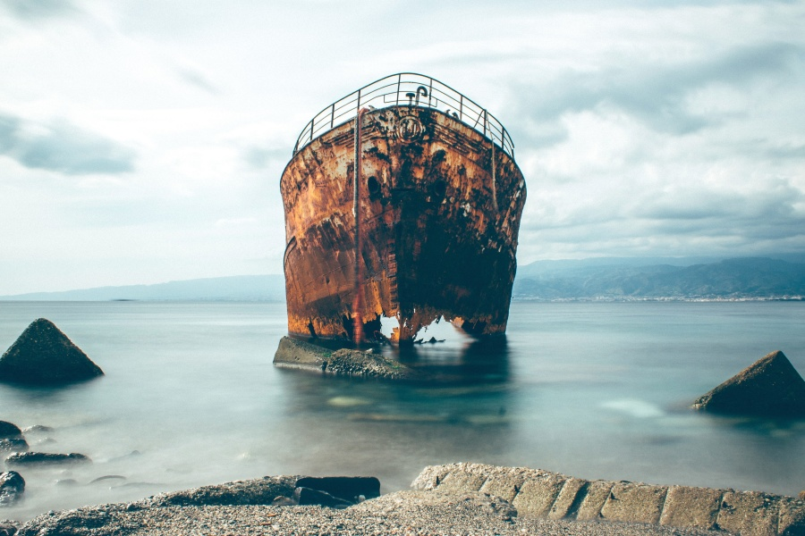 rust, ship, sea, shipwreck, iron, coast, sky, sea, water, landscape