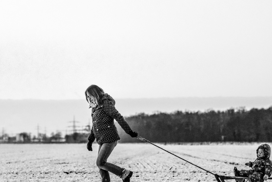 woman, child, snow, snow sleigh, mother, family