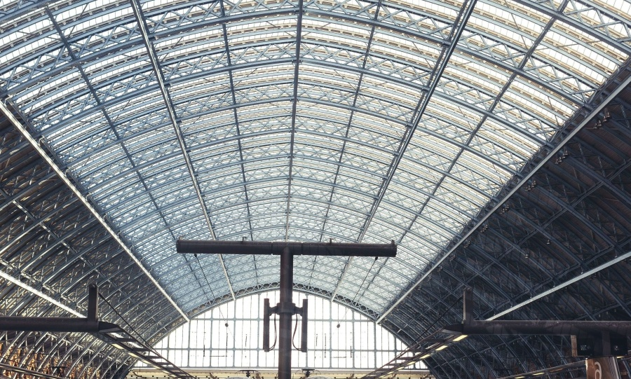 interior, train station, structure, ceiling, glass
