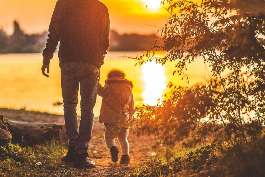 father, child, daughter, park, sunset, together, silhouette, childhood
