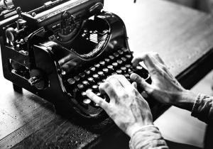 Vieux, appareil, machine à écrire, noir, blanc, antiquité, machine