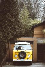 Classico, giallo, automobile, vecchio, casa, esterno