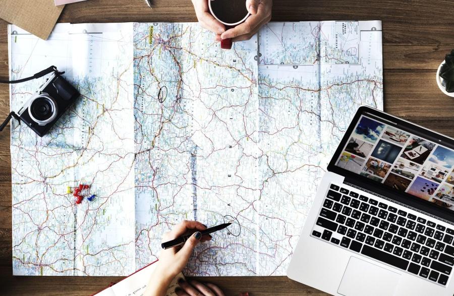 laptop computer, map, plan, journey, photo camera, pencil
