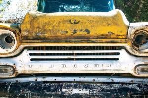 Ruggine, giallo, oldtimer, auto, junkyard