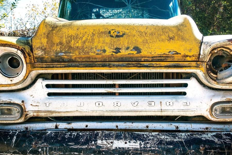 rust, yellow, oldtimer, car, junkyard