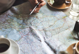 plan, map, journey, travel, coffe cup, navigation