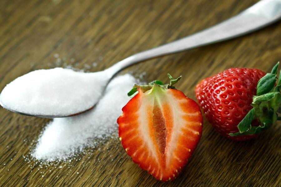 strawberriy, spoon, sugar, fruit, food