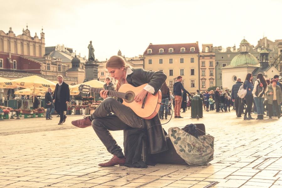 people, downtown, man, street, musician, guitar, city