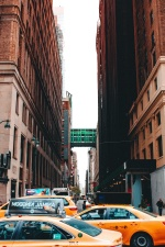 geel, taxi, auto, stedelijk, stad, stad, straat