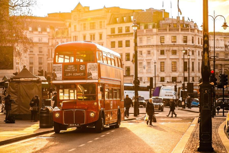 street, vehicle, dusk, bus, sunset, people