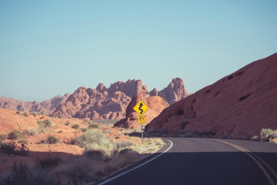 asphalt, desert, road, traffic sign