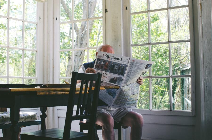 old man, newspaper, interior, room, furniture