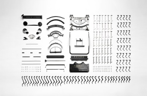 old, typewriter, component, object, part, equipment
