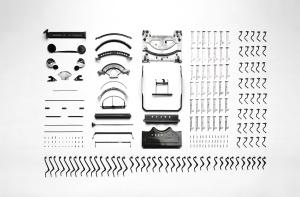 vanhan kirjoituskoneen, komponentti, objekti, osa välineistö,