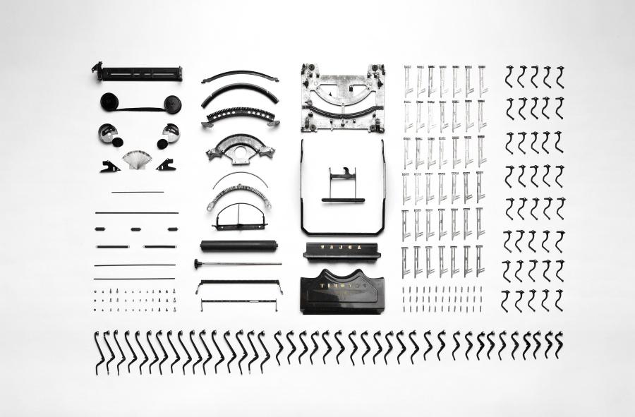 Ancien, machine à écrire, composant, objet, pièce, équipement