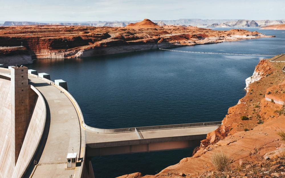 canyon, dam, lake, water, construction, architecture, coast, landscape