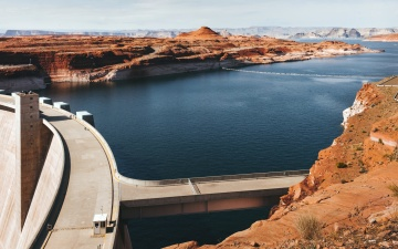 canyon, dam, lake, water, construction, architecture, coast, landscape