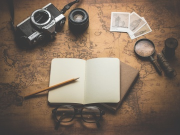 old, travel, photo camera, object, paper, eyeglasses