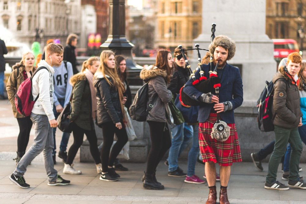 music, artist, musician, street, bagpipes, people, crowd