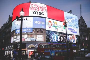 Marketing, rue, centre-ville, crépuscule, ville, enseignes