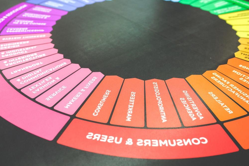 színes, befest szedőmunkás, kör, design, színes