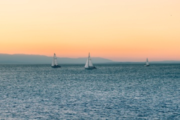 sailboat, water, sunset, sea, ocean, water, sky