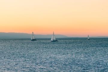 perahu layar, air, matahari terbenam, laut, laut, air, langit