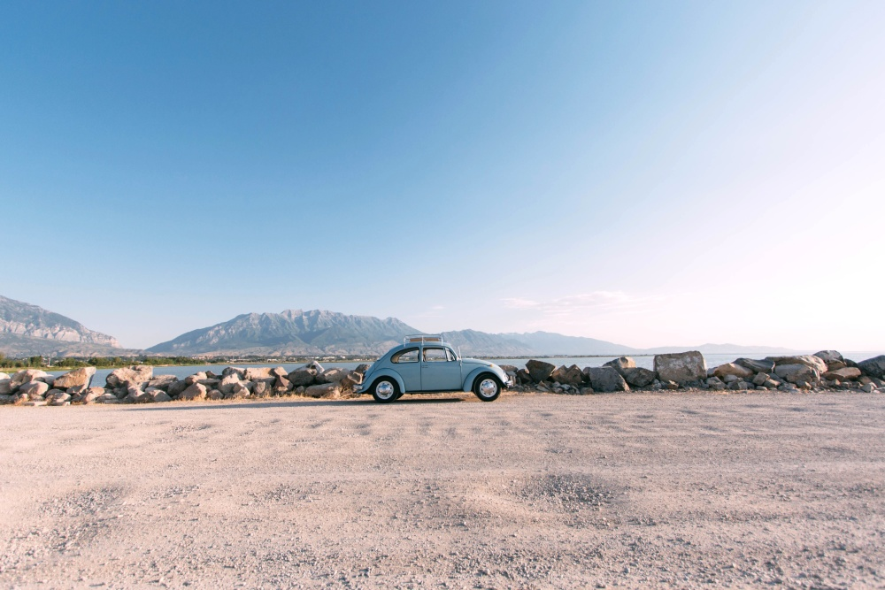автомобиль, автомобиль, путешествие, пляж, небо, Олдтаймер