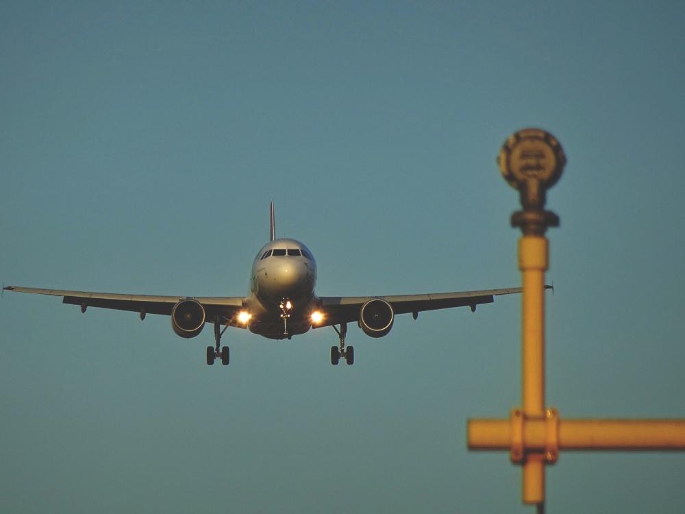 airplane, flight, sky, airport, antenna, blue sky