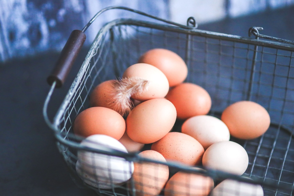 egg, metal basket, food, iron, decoration
