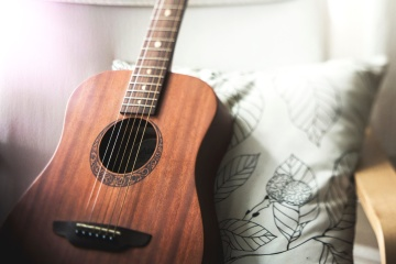 acoustic guitar, music instrument, antique, object, guitar