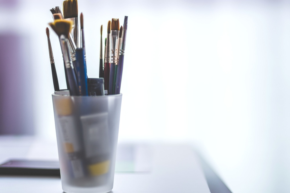 paint brush, art, material, equipment, object, glass
