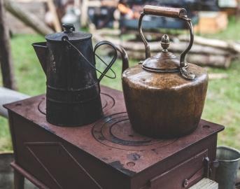 antik, vízforraló, tűzhely, tárgy, antik, régi