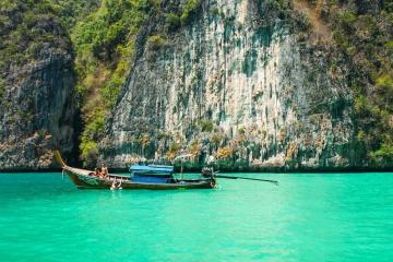 båt, klippe, vann, turist, havet, ferie, sommer, resort, kysten