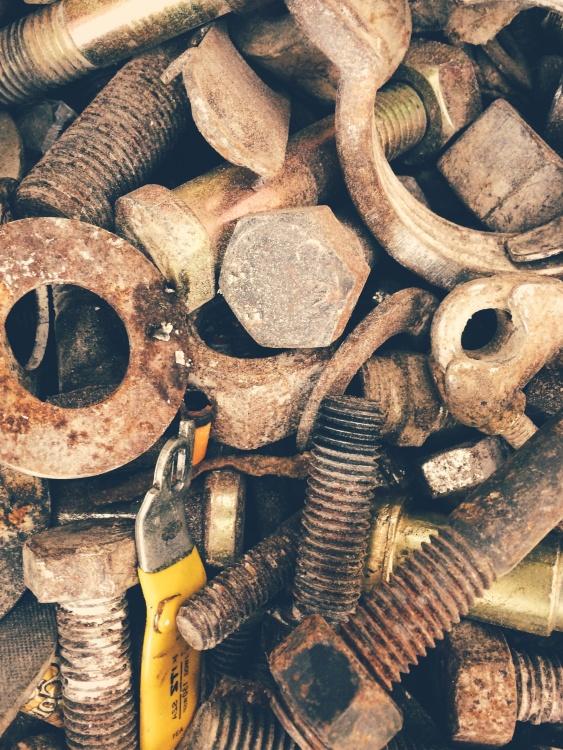 rust, metal screw, iron, brown, object
