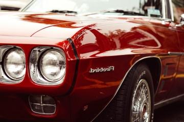Voiture classique, hotte, oldtimer, rouge, voiture, véhicule, automobile, vitesse