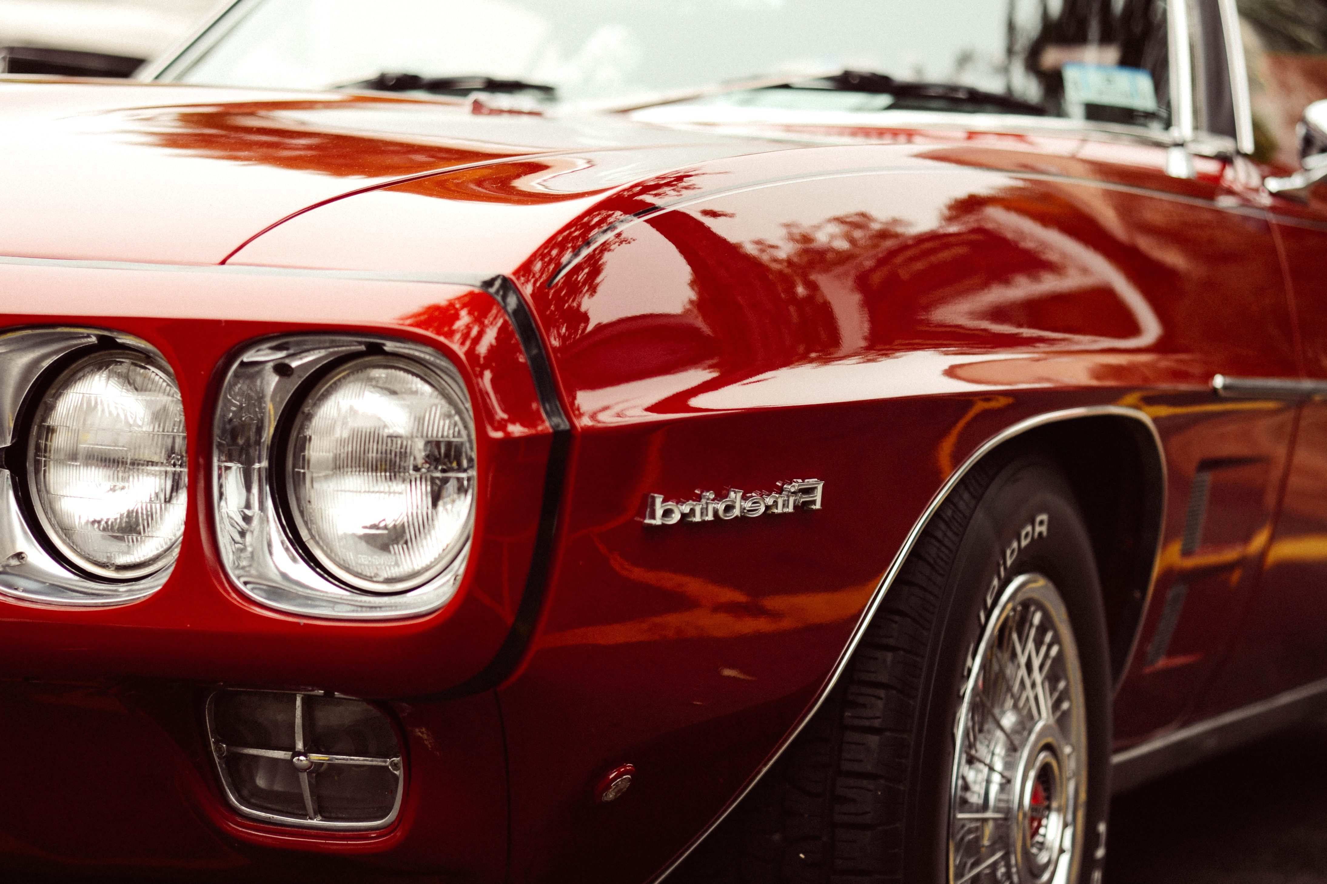Free picture: classic car, hood, oldtimer, red, car, vehicle ...