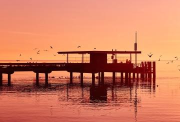 Bord de la mer, coucher de soleil, jetée, crépuscule, reflet, eau, quai