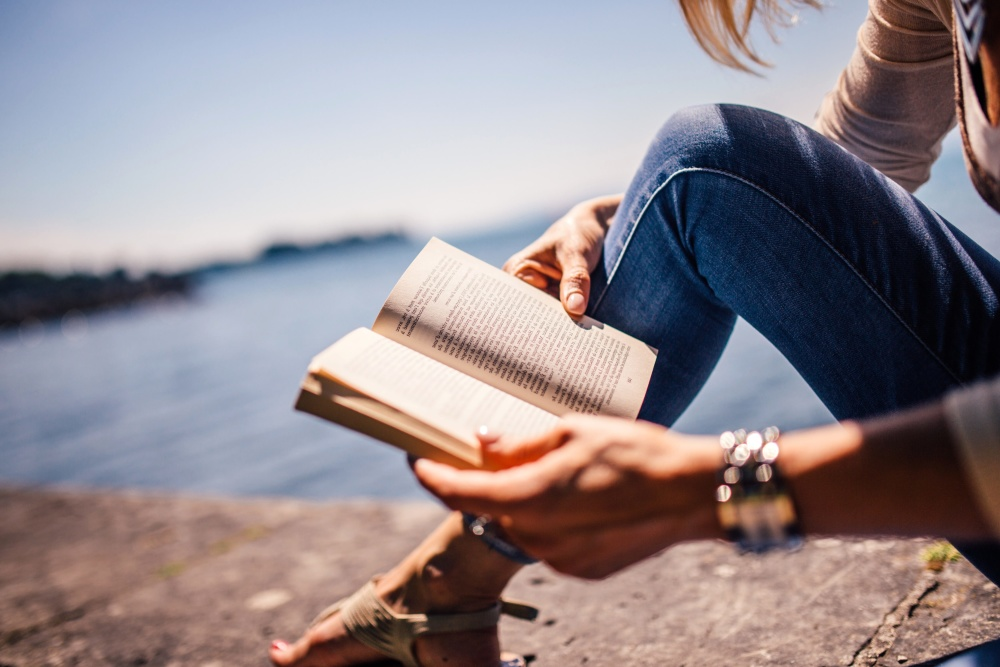 woman, reading, book, coast